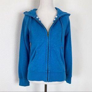 J. Crew S Full Zip Hoodie Sweatshirt Hooded Blue